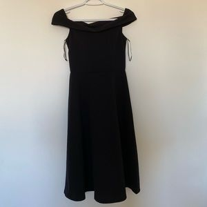h&m black off-the-shoulder midi dress